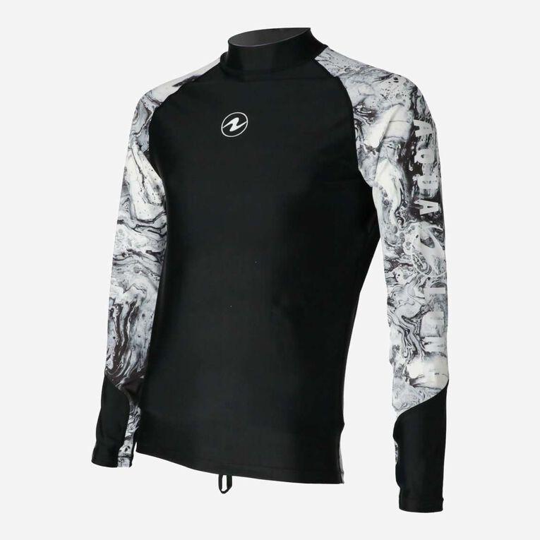 Aqua Rashguard Long Sleeve - Men, Black/White, hi-res image number 2