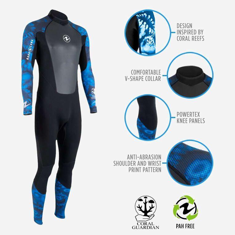 HydroFlex 1mm Coral Guardian Wetsuit Men, Black/Blue, hi-res image number 1