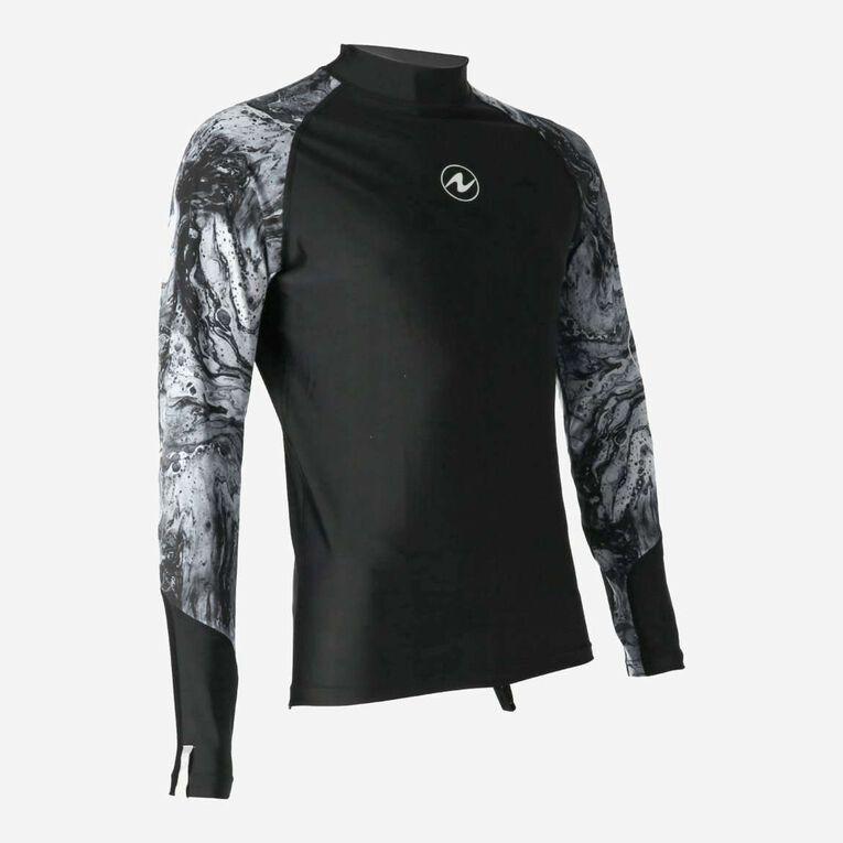 Aqua Rashguard Long Sleeve - Men, Black/White, hi-res image number 1