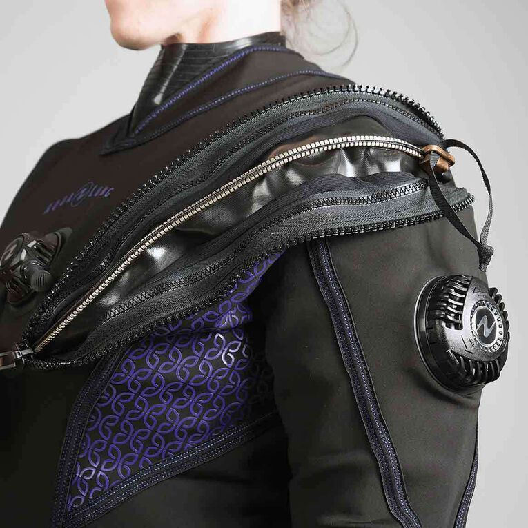 Fusion Fit Drysuit - Women's, Black/Twilight, hi-res image number 1