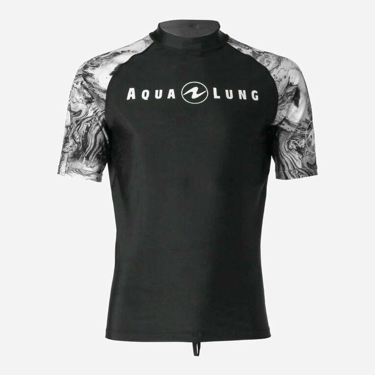 Aqua Rashguard Short Sleeve - Men, Black/White, hi-res image number 0