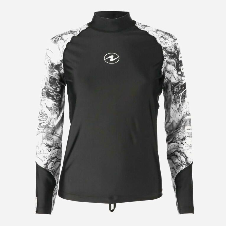 Aqua Rashguard Long Sleeve - Women, Black/White, hi-res image number 0