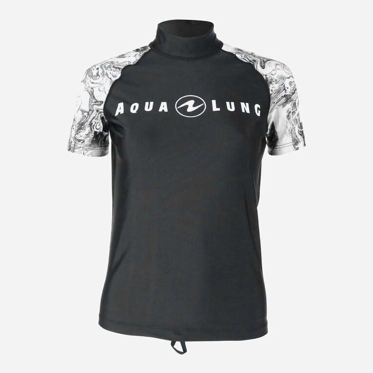 Aqua Rashguard Short Sleeve - Women, Black/White, hi-res image number 0