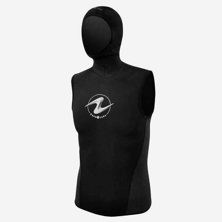 AquaFlex 6/5/3mm Hooded Vest - Men, Black/White, hi-res image number 0