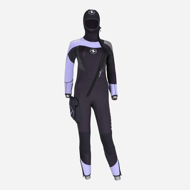 DynaFlex 6.5mm Wetsuit with Hood Women, Black/Purple, hi-res image number 0