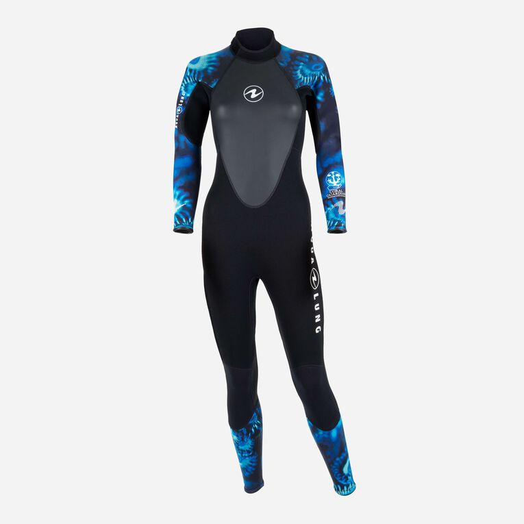 HydroFlex 1mm Coral Guardian Wetsuit Women, Black/Blue, hi-res image number null