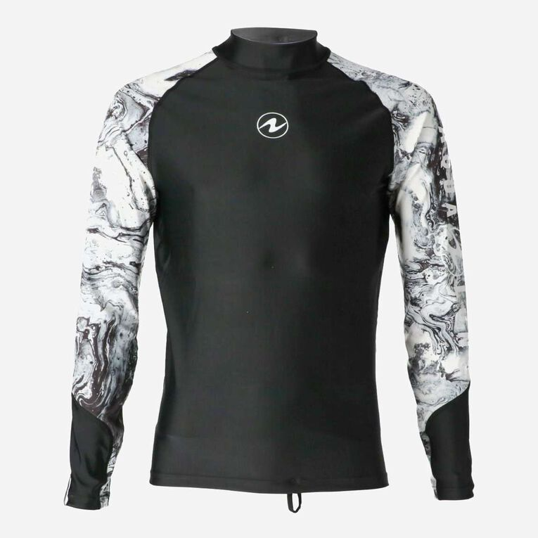 Aqua Rashguard Long Sleeve - Men, Black/White, hi-res image number 0