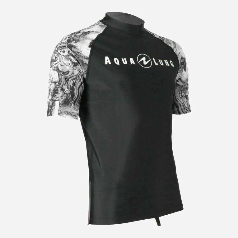 Aqua Rashguard Short Sleeve - Men, Black/White, hi-res image number 1