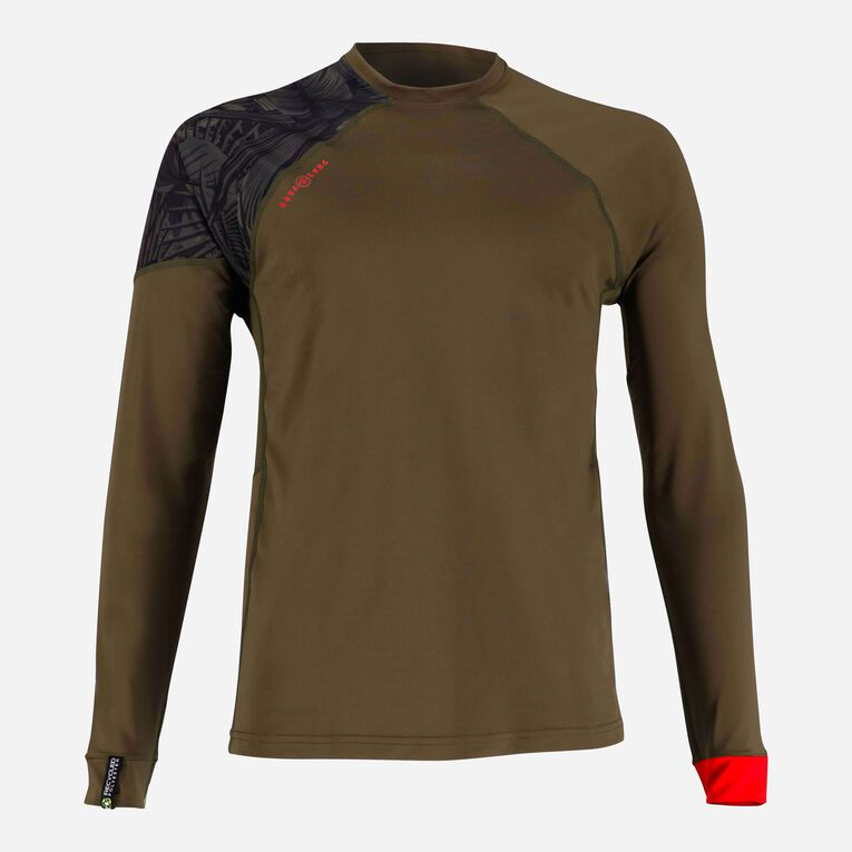 Xscape Rashguard Loose fit Long sleeves - Men, Dark green/Red, hi-res image number 0