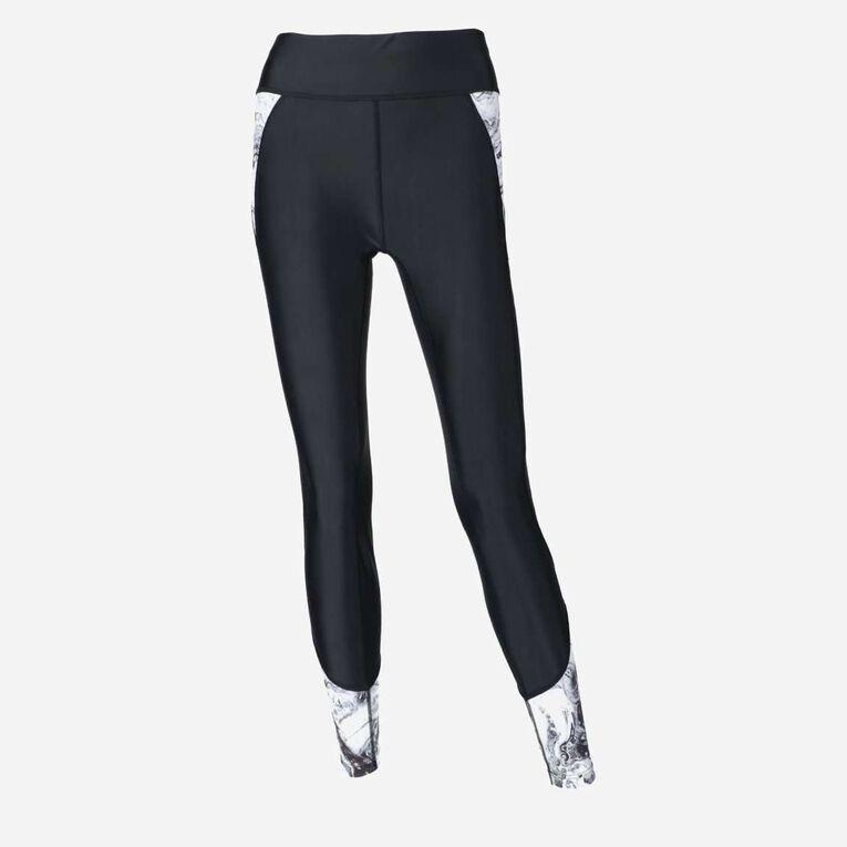 Aqua Rashguard Leggings - Women, Black/White, hi-res image number 0