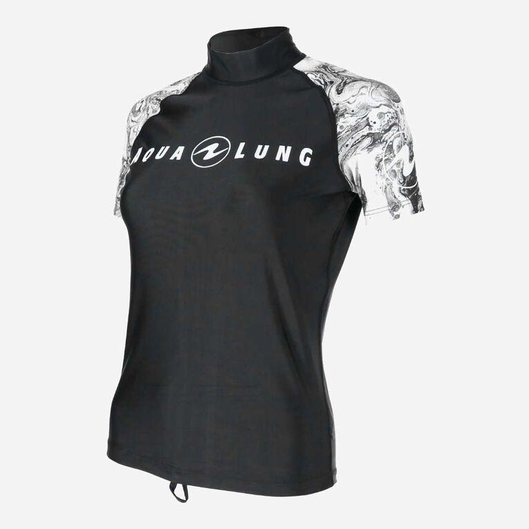 Aqua Rashguard Short Sleeve - Women, Black/White, hi-res image number 2